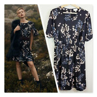 [ WITCHERY ] Womens Georgette Printed Frill Dress | Size AU 10 or US 6