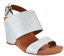 Gentle Souls Leather Covered Wedge Sandals - Inka Silver Women's Size 6 NEW