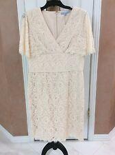 Antonio Melani Short Sleeve Cream Lace Dress, Size 12