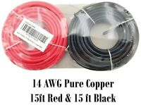 14 Gauge Ga 15 FT Red Black Pure Copper Automotive Trailer Hook Up Primary Wire