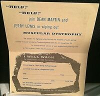 "MARTIN & LEWIS 1955 ORIG. RARE MUSCULAR DYSTROPHY ""WALKATHON"" 2-SIDED POSTCARD!!"