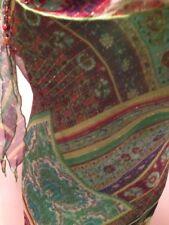 Cache Dress SILK Green Gold Shimmer Metallic Threads FLORAL BEADED Tie Sz 4