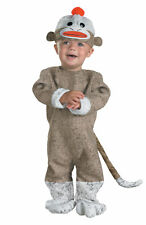 Sock Monkey Infant Animal Costume Jumpsuit Boot Covers Halloween Dress Disguise