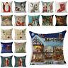 """Cotton Throw Linen Xmas Cover Cushion Christmas Case Decor Home Sofa Pillow 18"""""""