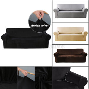 1/2/3/4 Seats Elastic Stretch Velvet Sofa Armchair Cover Solid Color Cou