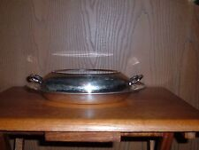 VINTAGE SILVER PLATE  OVAL SERVING DISH WITH HANDLED LID