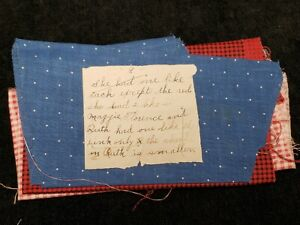 BEST Vintage Cotton Quilt Fabric Scraps c1890s w Provenance Calico Shirting RED