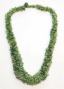 """Lovely Graduated Bohemian Seed Bead Greens Necklace 28"""""""