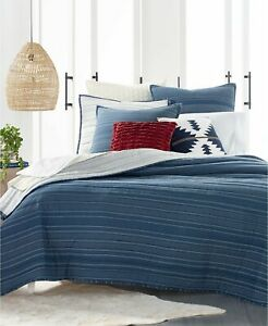 Lucky Brand Running Stitch Reversible Quilt King Size Color Blue NIP