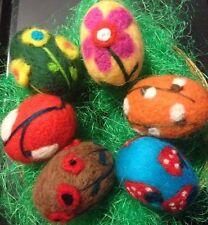 6 Fieltro Aguja Huevo De Pascua Decoración de Pascua.6 Diferentes Diseño-OOAK