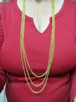 "Vintage-1960's Gold Tone Multi Link Chain Necklace 42"" Long"