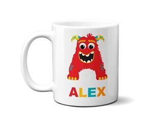 Personalised Children Monster Name Initial Letter Coffee Mug Gift 11oz Ceramic