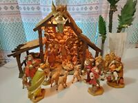 VINTAGE FONTANINI LIGHTED STABLE NATIVITY SET 24 PIECE LOT HEIRLOOM ORIGINAL BOX