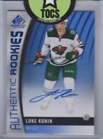 Luke Kunin 2017-18 SP Game Used Authentic Rookies Auto #164 Minnesota