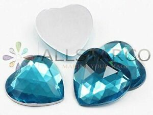 25mm Flat Back Heart Acrylic Gems Plastic Rhinestones Embelishments Craft 18 Pcs