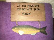 Vintage Gone Fishing Sign Wall Mounted Wooden Key Holder with lid