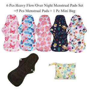 Reusable Washable Bamboo Cloth Sanitary Towels Menstrual Period Pads Practical