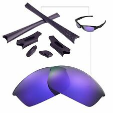 WL Polarized Purple Lenses Black Rubber Kit For Oakley Flak Jacket Sunglasses