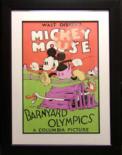 Walt Disney Mickey Mouse Serigraph Poster Black Custom Frame Make an Offer!