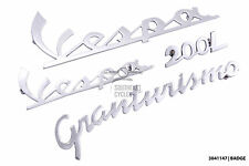 Chrome front legshied and rear cowl badges for vespa GT 200L Granturismo