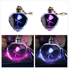 30pcs 7 Colors LED Crystal Heart Flower Key Chain Ring Keyring Lovely Keychain