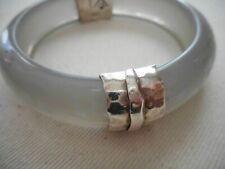 Silpada B2186 Sterling Silver Engraved Gray Resin Scroll Bangle Bracelet $189