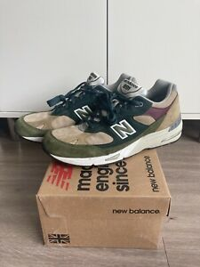 New Balance 991 Made in UK M991NTG Olive Green & Red Sz 11 VNDS