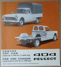 1974 Peugeot 404 canvas top van leaflet/brochure