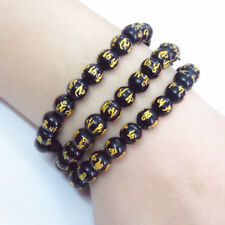 8mm Unisex Fashion Black Agate Beads Mantra Scripture Beads Bracelet Chain  Gift