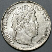 1838-W France 5 Francs Louis Philippe XF Lille Mint Silver Coin (19111506R)