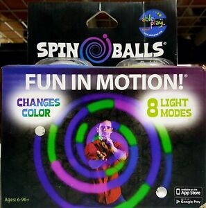 Fun In Motion Spin Balls LED Poi Kit Glow Changes Color 8 Light Modes - Ages 6 +