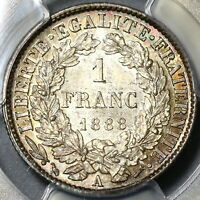 1888-A PCGS MS 64 France 1 Franc Ceres Mint State Silver Coin (20020102C)