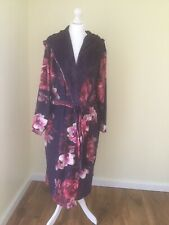 Ted Baker - Purple Floral Print Splendour Hooded Dressing Gown size 12-14