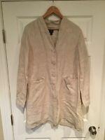 Eileen Fisher Oatmeal Tan Linen Button-Up Jacket, Size Medium