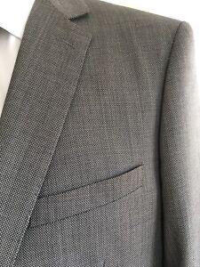 GIORGIO SANETTI Notch Lapel 2Btn- S/B Birdseye Pure Wool Super 150's Suit  42L