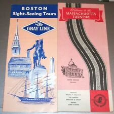 1955 Massachusetts Turnpike Map 1967 Grayline Boston Sight Seeing Brochure Orig
