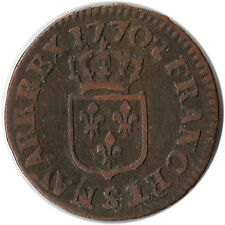 1770 (S) France 1 Liard Coin Louis XV Reims Mint KM#543.9