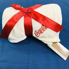 "Coca-Cola Cream Embroidered Supersoft Fleece Blanket Throw 63"" x 40.5"""