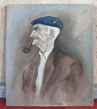 hst huile sur toile peinture tableau basque fumant sa pipe painting