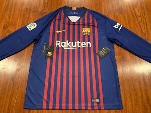2018-19 Nike Breathe Men's FC Barcelona Home Long Sleeve Soccer Jersey XL Barca