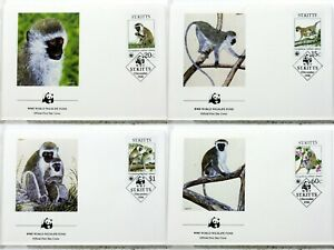 1986 Green Monkeys On St.Kitts Monkey Animals Wild Wwf 4 Covers FDC 18