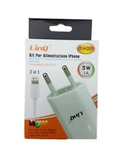 Caricabatterie 2in1 Alimentatore Con Cavo Usb Per Iphone 7 6 5w 1A Linq i7-h201