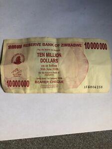 lot ZIMBABWE 10 million dollar note