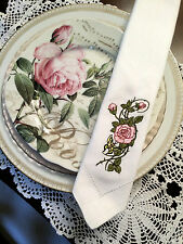 4 Wedding Embroidered White Linen Dinner Napkins w/ Roses & Butterfly FREE SHIP