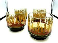 """4 Vintage Mid Century Lowball Smoked Drinking Glasses 3""""  Yellow Red Leaves Bar"""