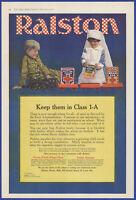 Vintage 1918 RALSTON Branzos Wheat Flour Food Kitchen WWI Ephemera Print Ad