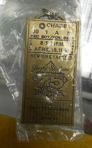 Commemorative Brass 1998 Ticket Stub Keychain New York Yankees vs Detroit