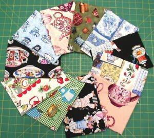 Stash Builder! PRE-WASHED Novelty Tea Time, Chef & Cooking Themed Fat Quarters