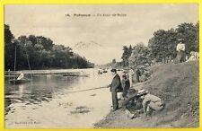 cpa PUTEAUX en 1905 (Hauts de Seine) Belle Animation PÊCHEURS à la LIGNE Anglers