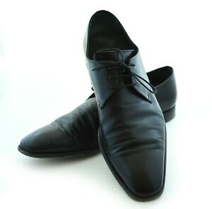 Moreschi Mens Black Leather Dress Shoes Size 10 Made in Italy with laces oxford